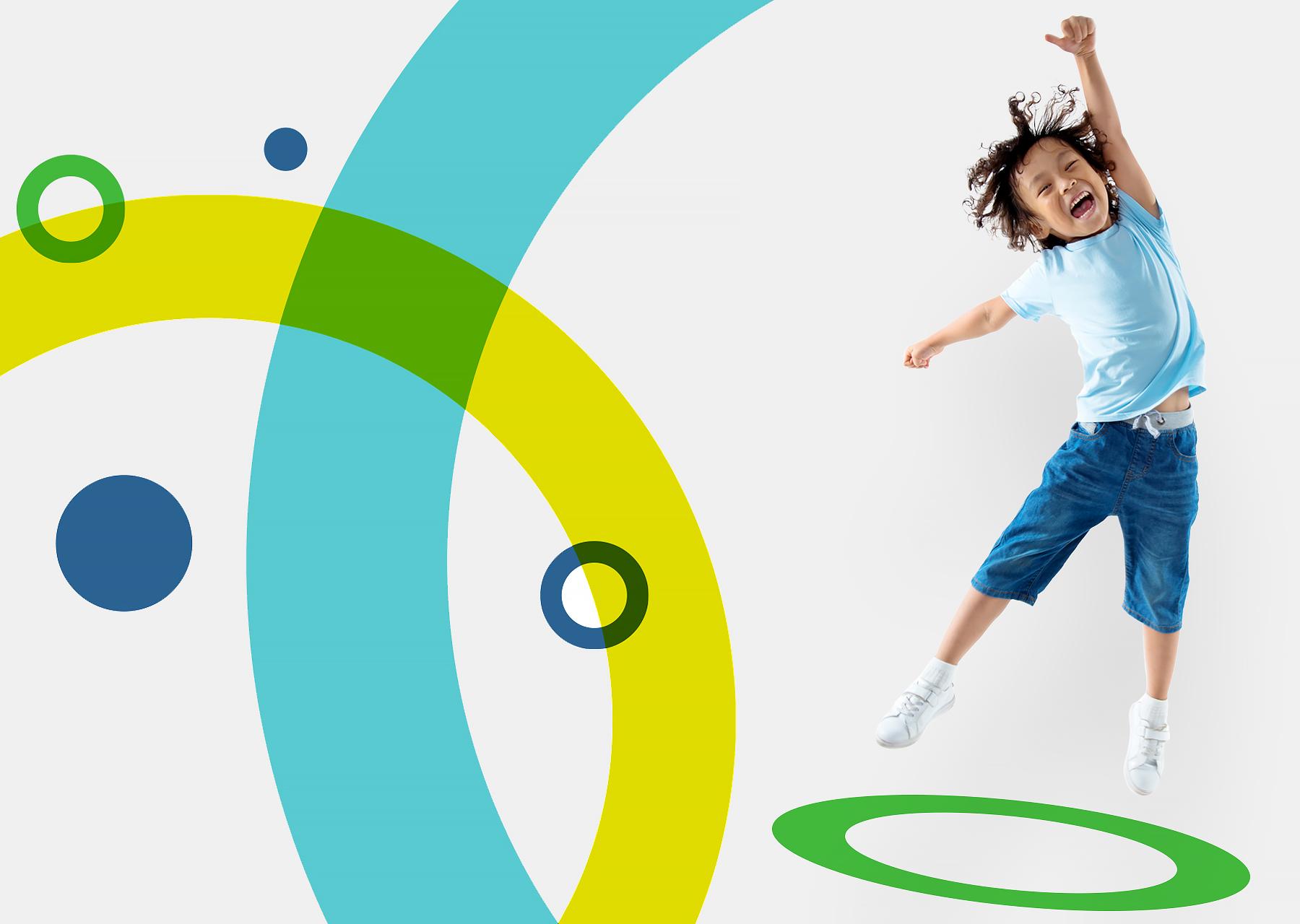 Hero kindercentra huisstijlkleuren en springende jongetje