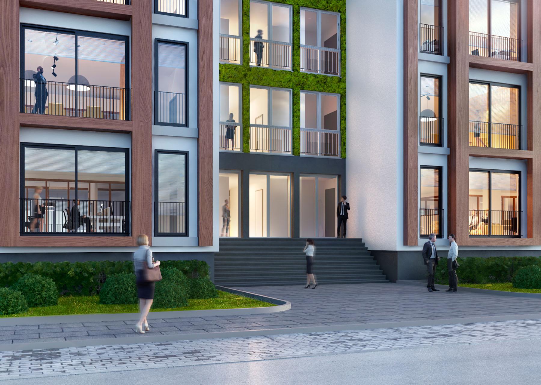De Kade Amsterdam vooraanzicht modern kantoorgebouw