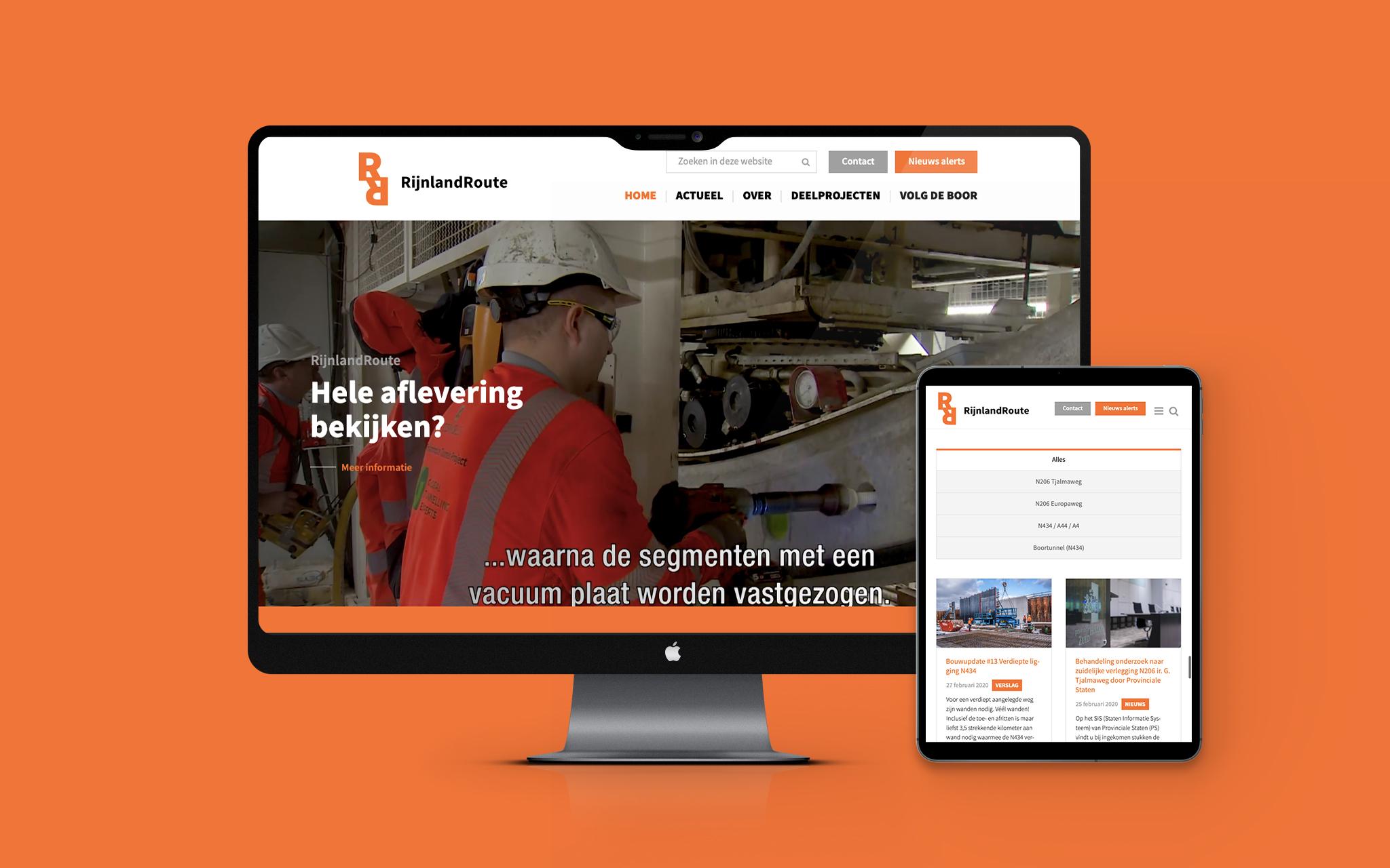 RijnlandRoute website in mockup