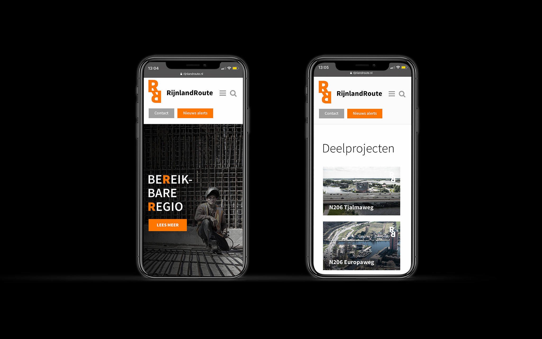 RijnlandRoute mobiele website in mockups
