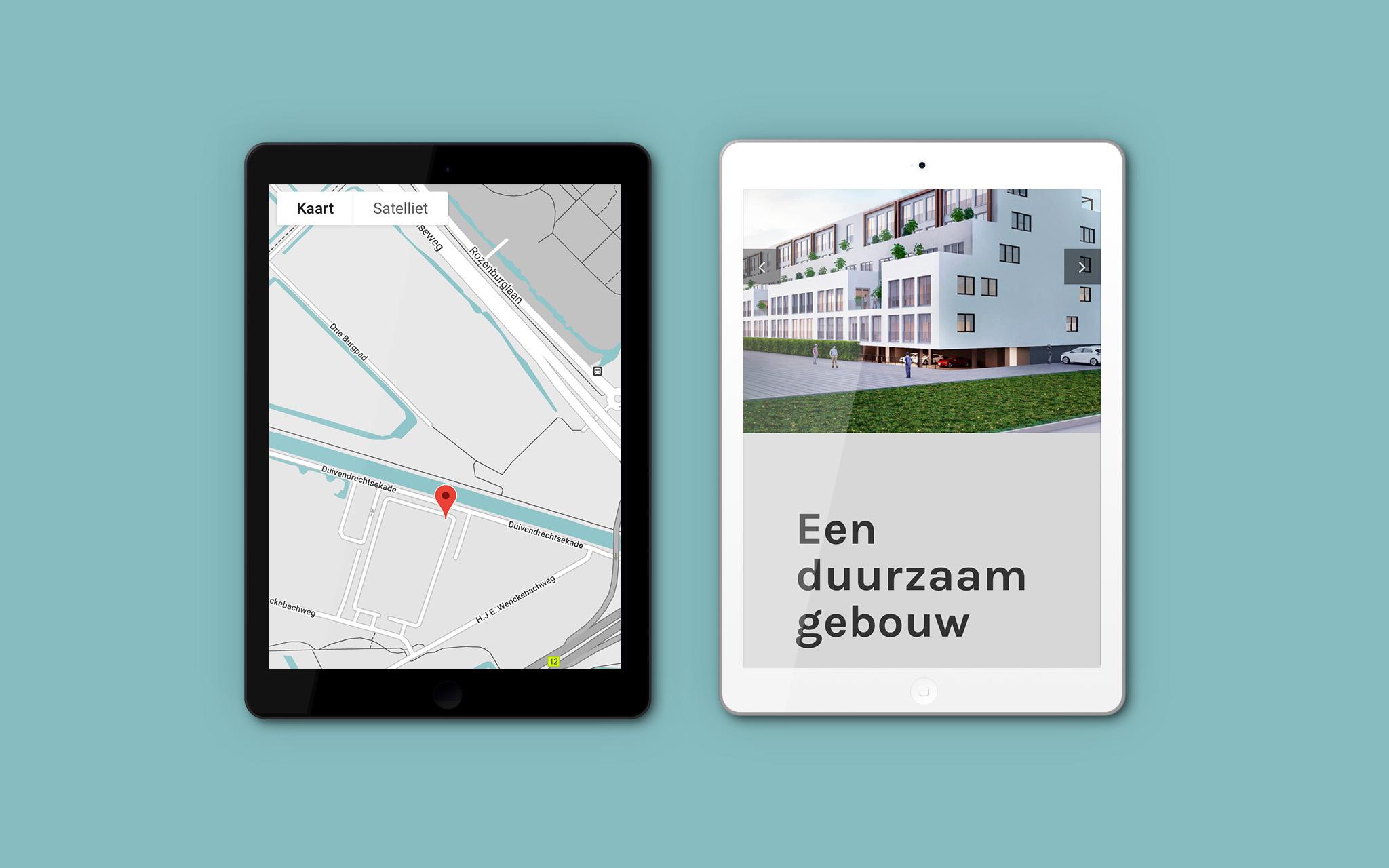 De Kade Amsterdam website in tablet mockups