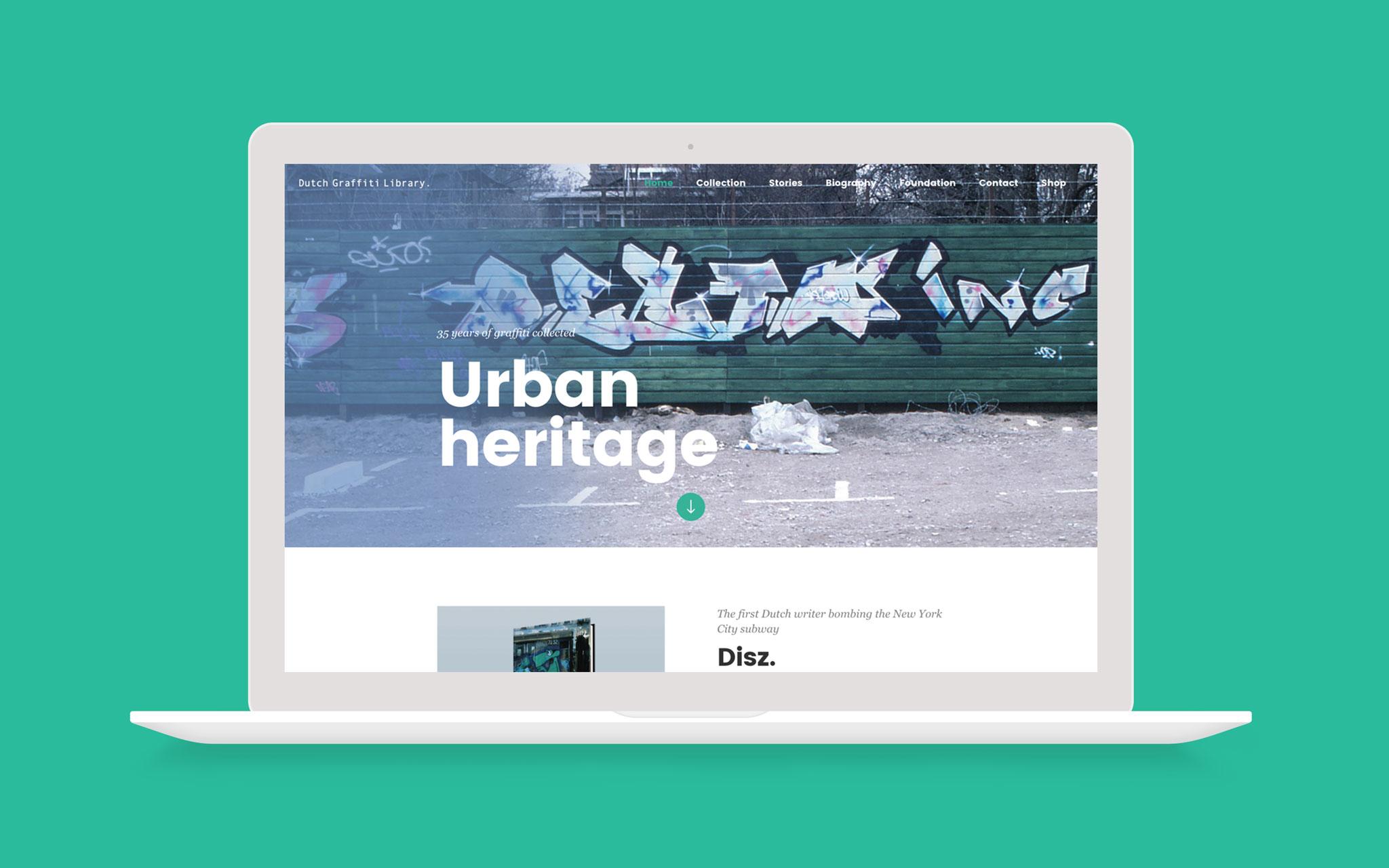 Dutch Graffiti Library website in laptop mockup groene achtergrond