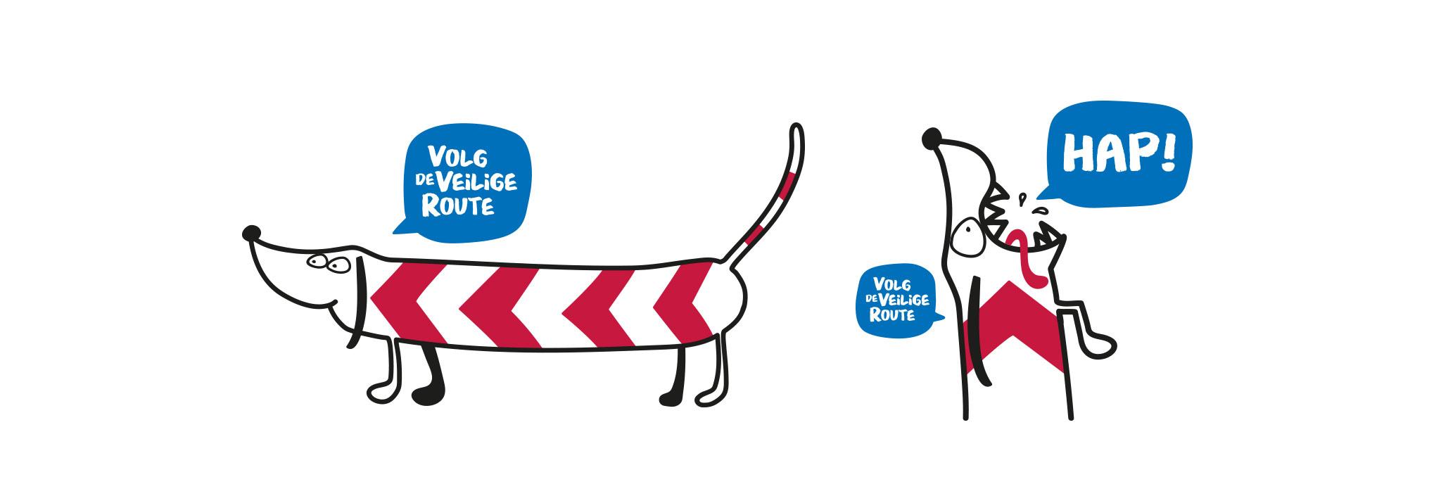 Spoorzone Delft illustratie hond