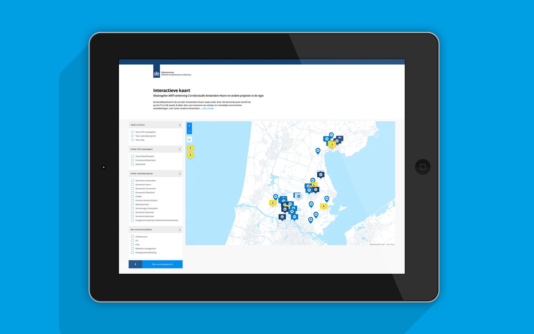 Rijkswaterstaat interactieve kaart in tablet mockup