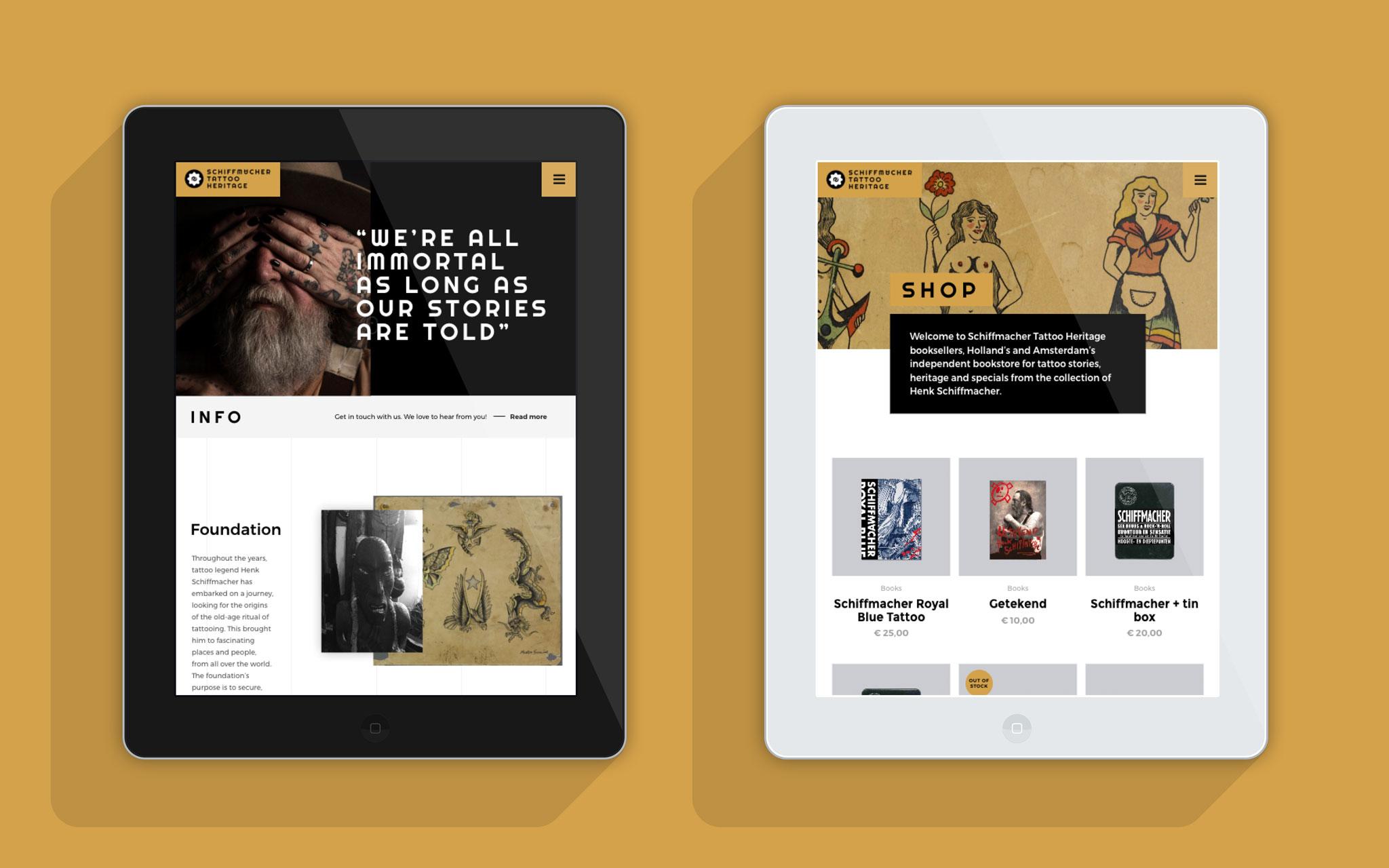 Schiffmacher Tattoo Heritage website in tablet mockups