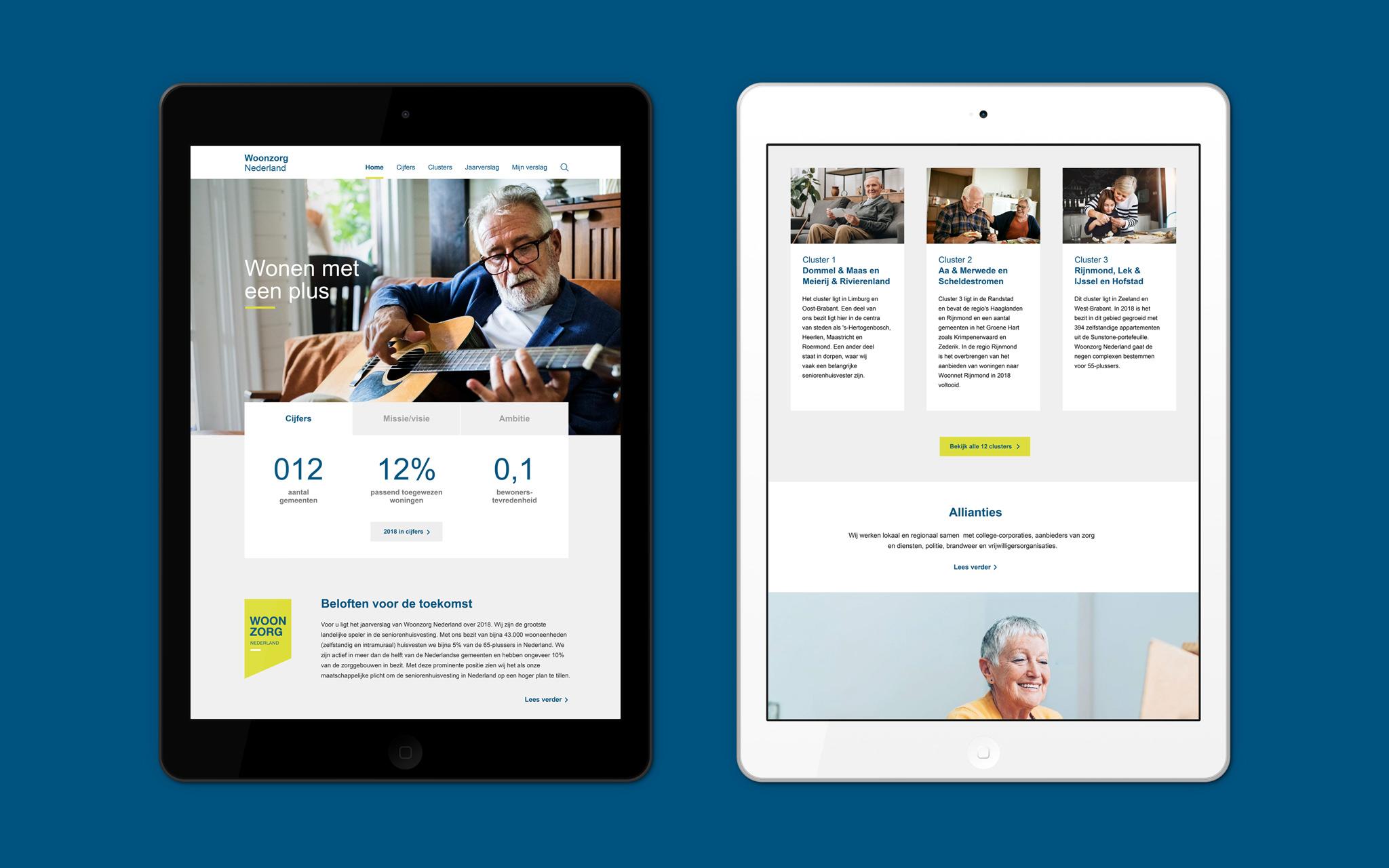 Woonzorg Nederland jaarverslag in tablet mockups