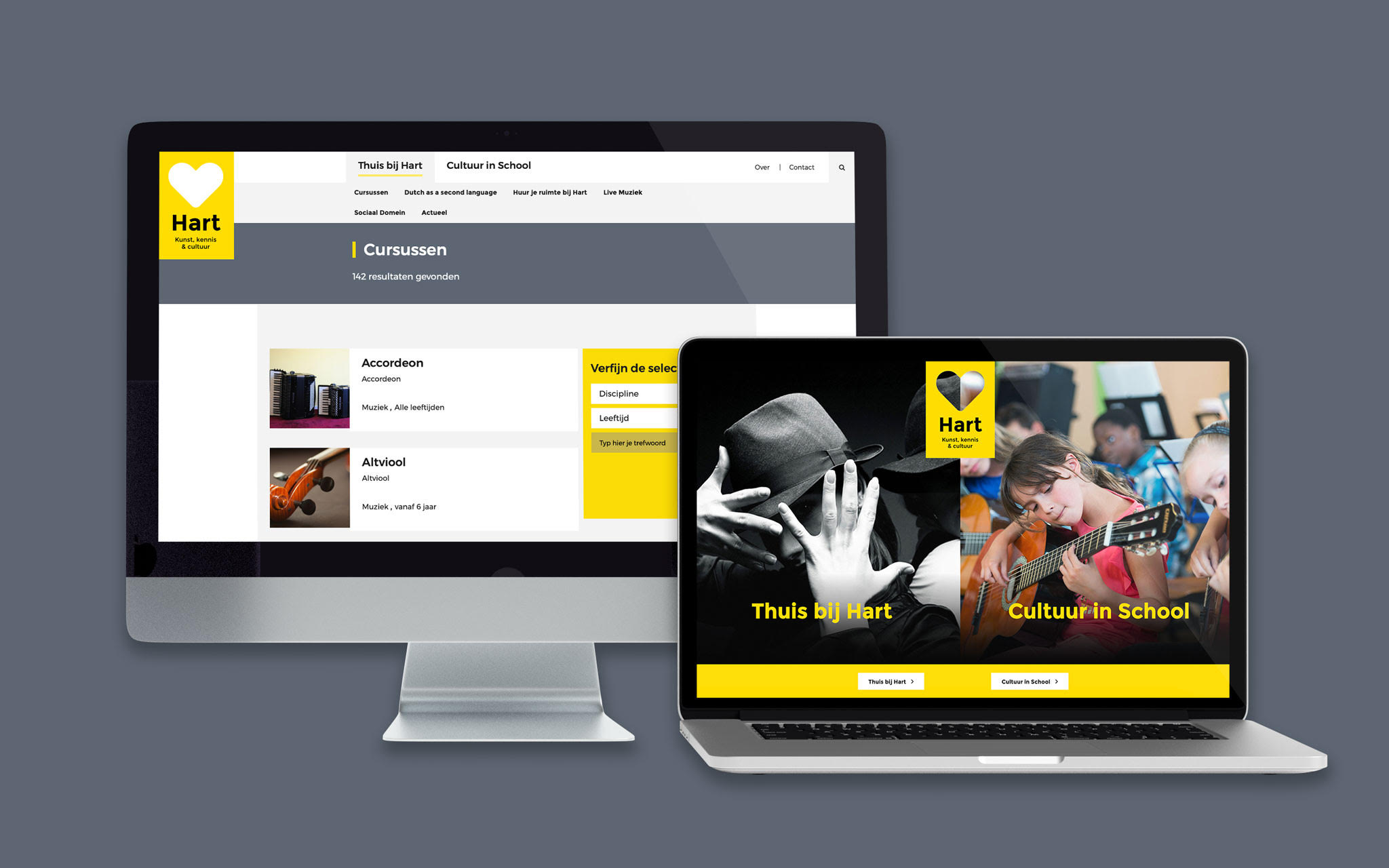Hart website in mockups