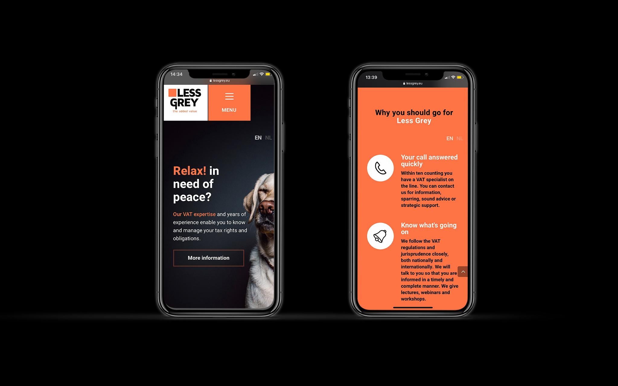 Less Grey mobiele website