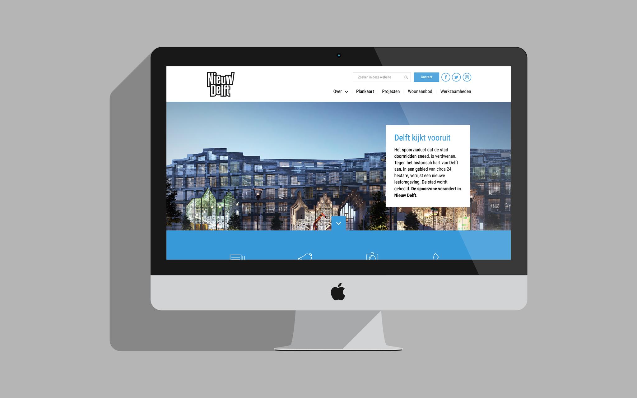 Nieuw Delft website in mockup