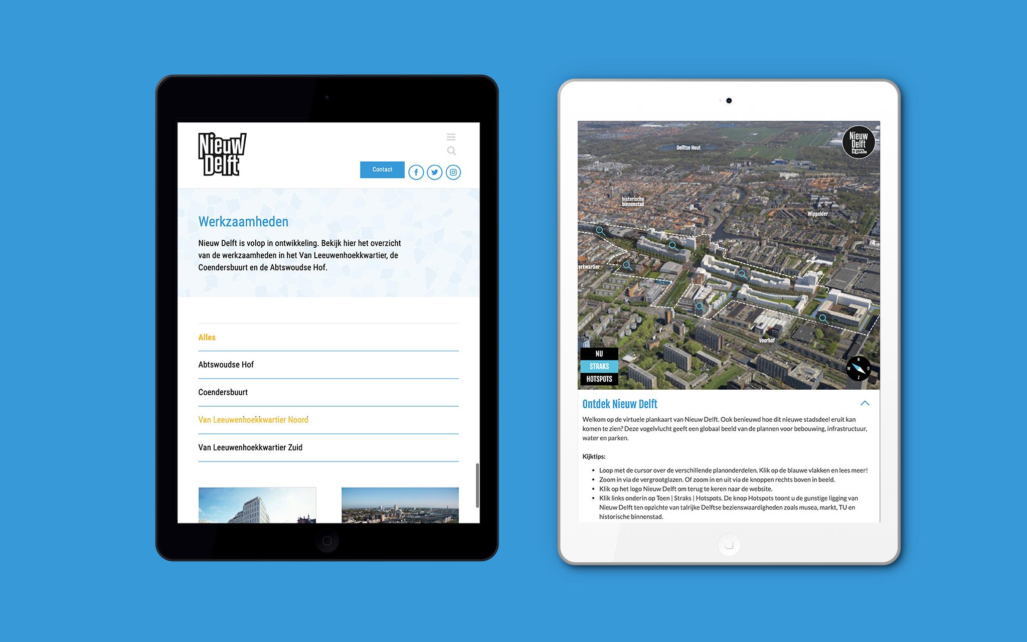 Nieuw Delft website in mockups