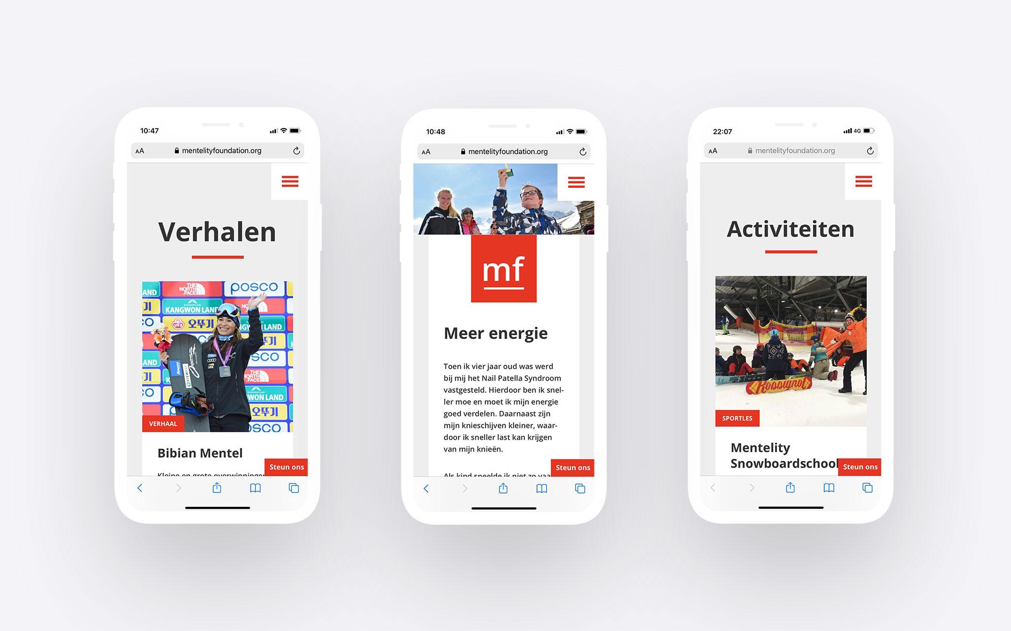Mentelity Foundation storytelling op mobiele website