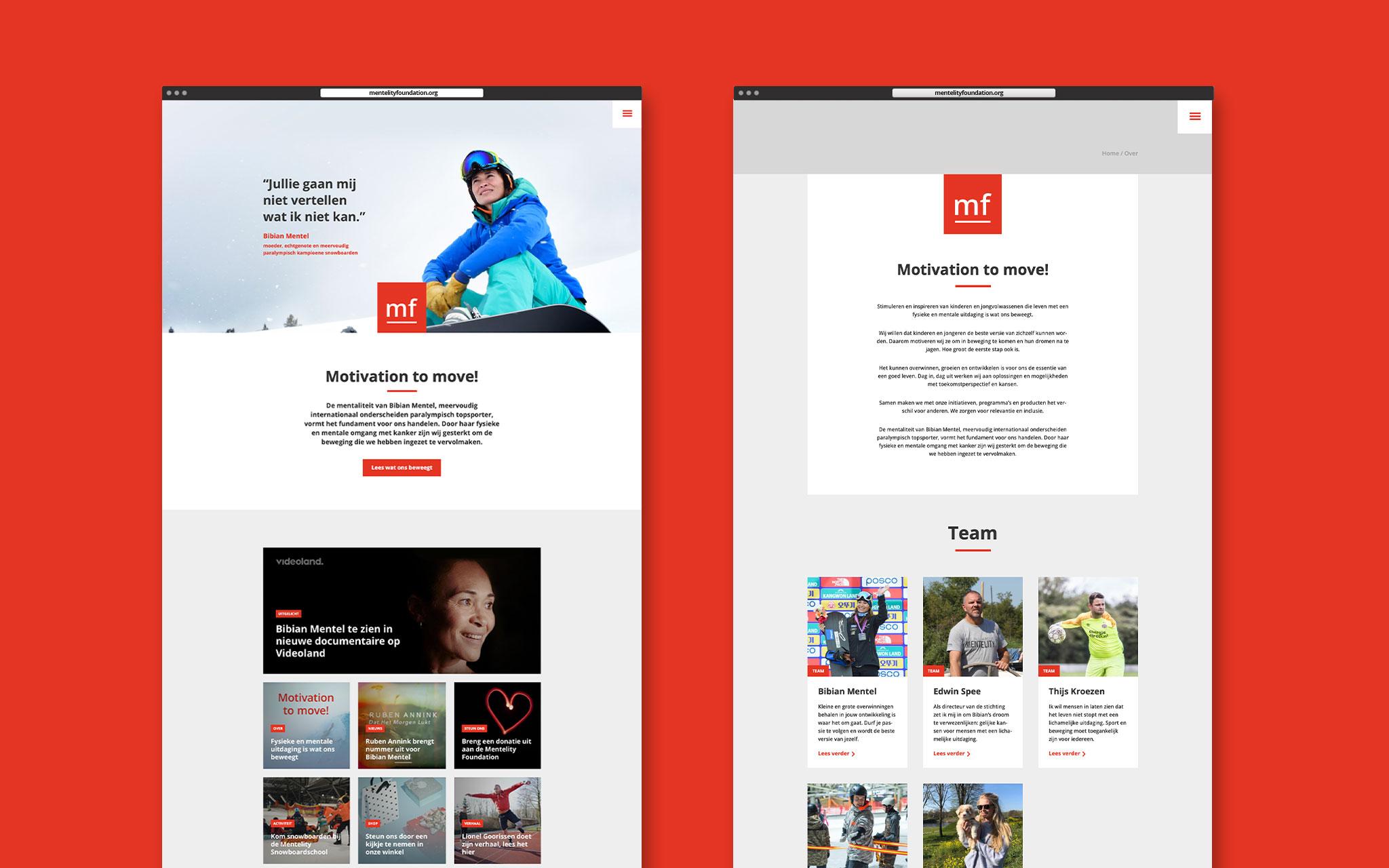 Mentelity Foundation website ontwerp