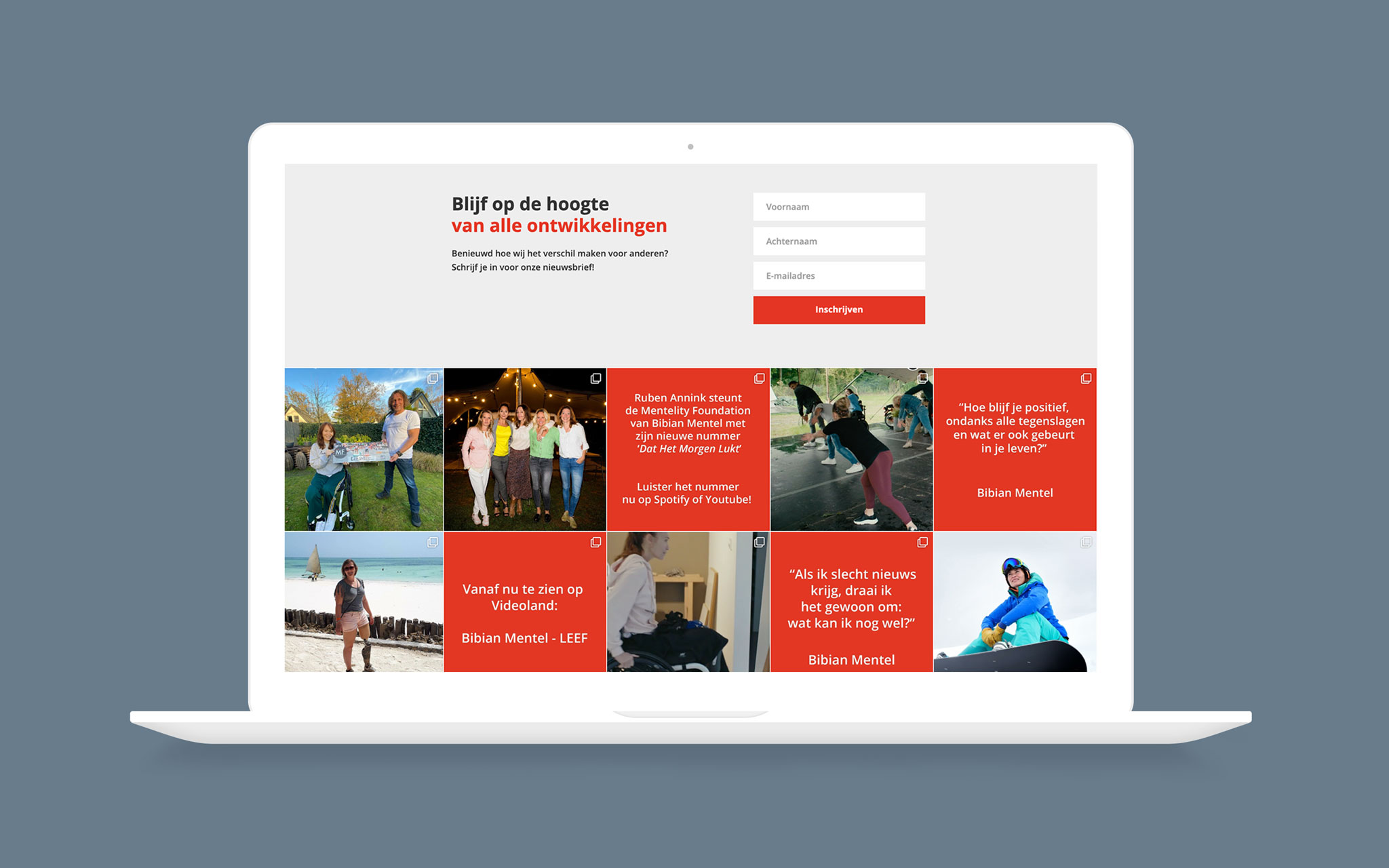 Mentelity Foundation website ontwerp op laptop
