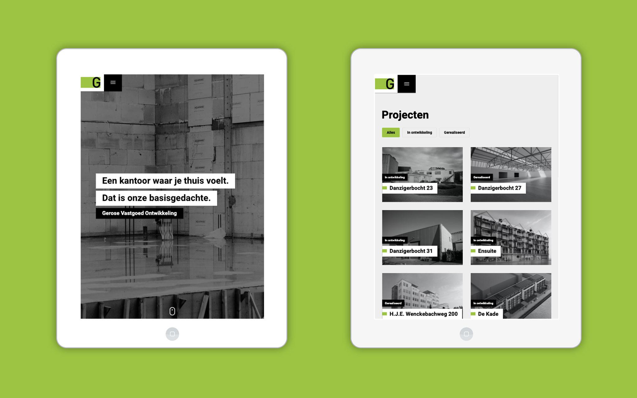 Gerose Vastgoed Ontwikkeling website ontwerp op tablet